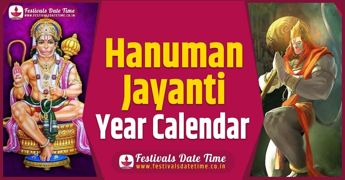 Hanuman Jayanti Year Calendar, Hanuman Jayanti Pooja Schedule