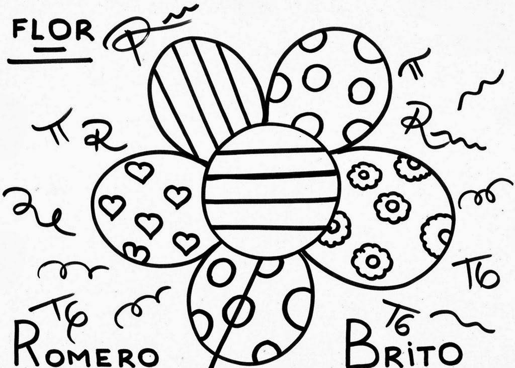 Romero Britto para colorir - Flor