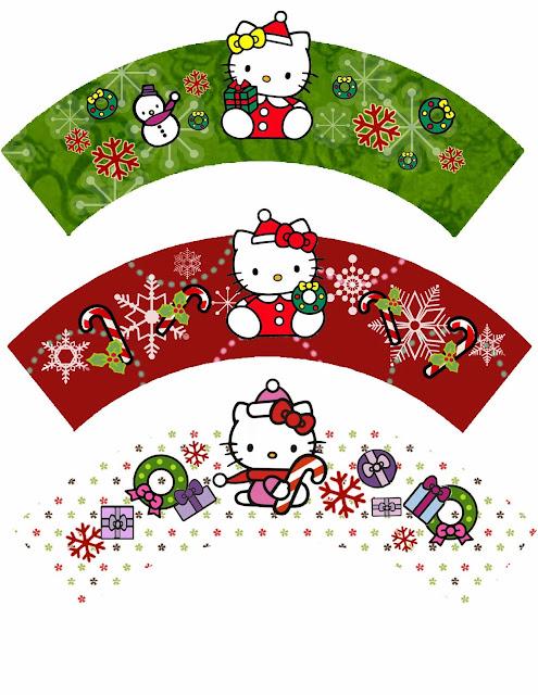Hello Kitty for Christmas: Free Printable Cupcake Wrappers