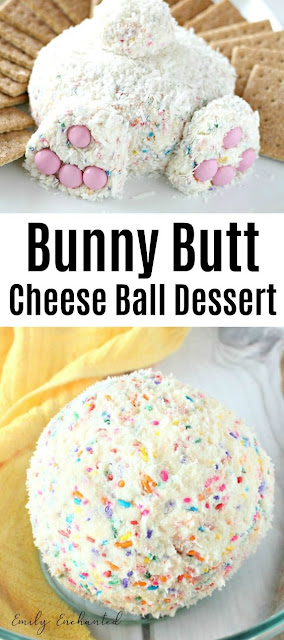 Sweet Bunny Butt Cheese Ball Easter Dessert with Coconut