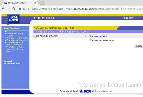 Tambah Daftar Rekening Klik BCA