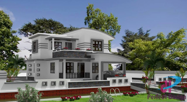Beautiful 3 bedroom kerala home design in two floors with for Car porch design in kerala