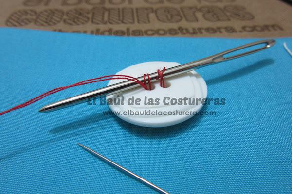 paso a paso para coser un botón Baul Costureras