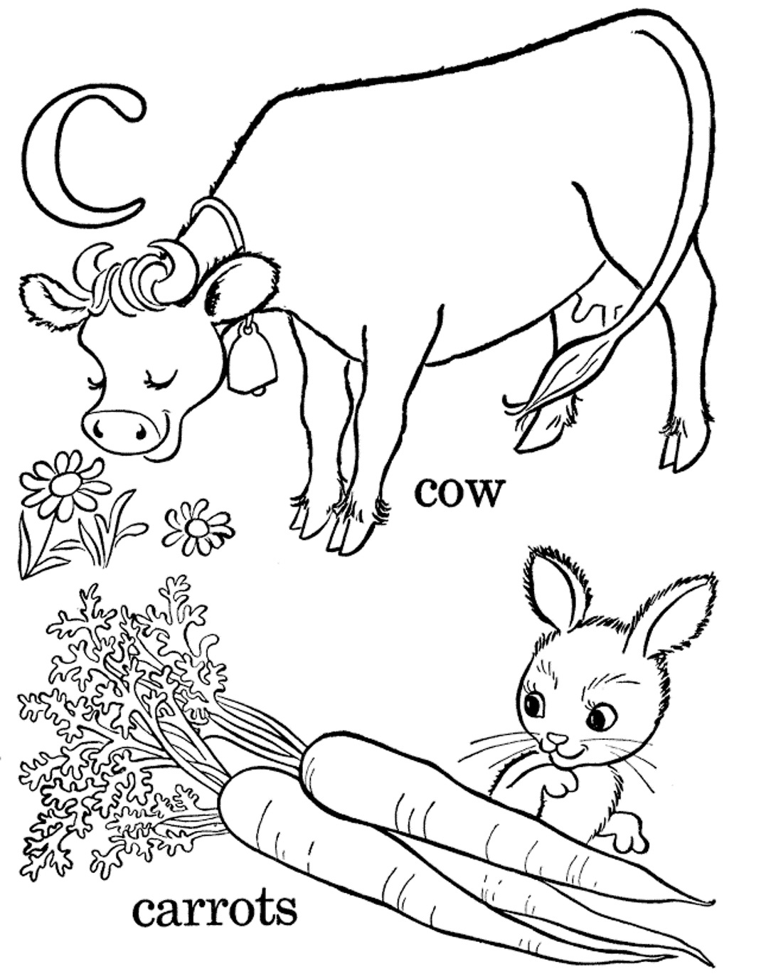 Cow And Carrot Alphabet Coloring Pages