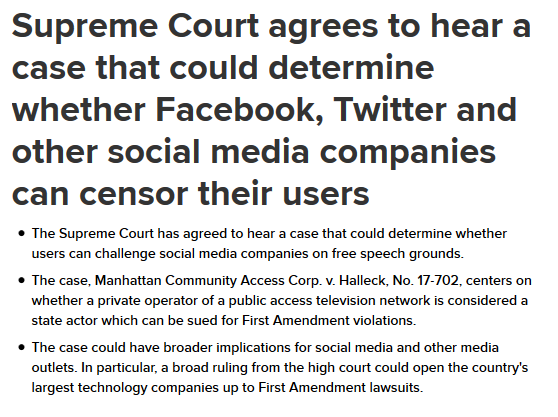 Facebook And Twitter Subject To 1st Amendment Supreme Court To Hear Case