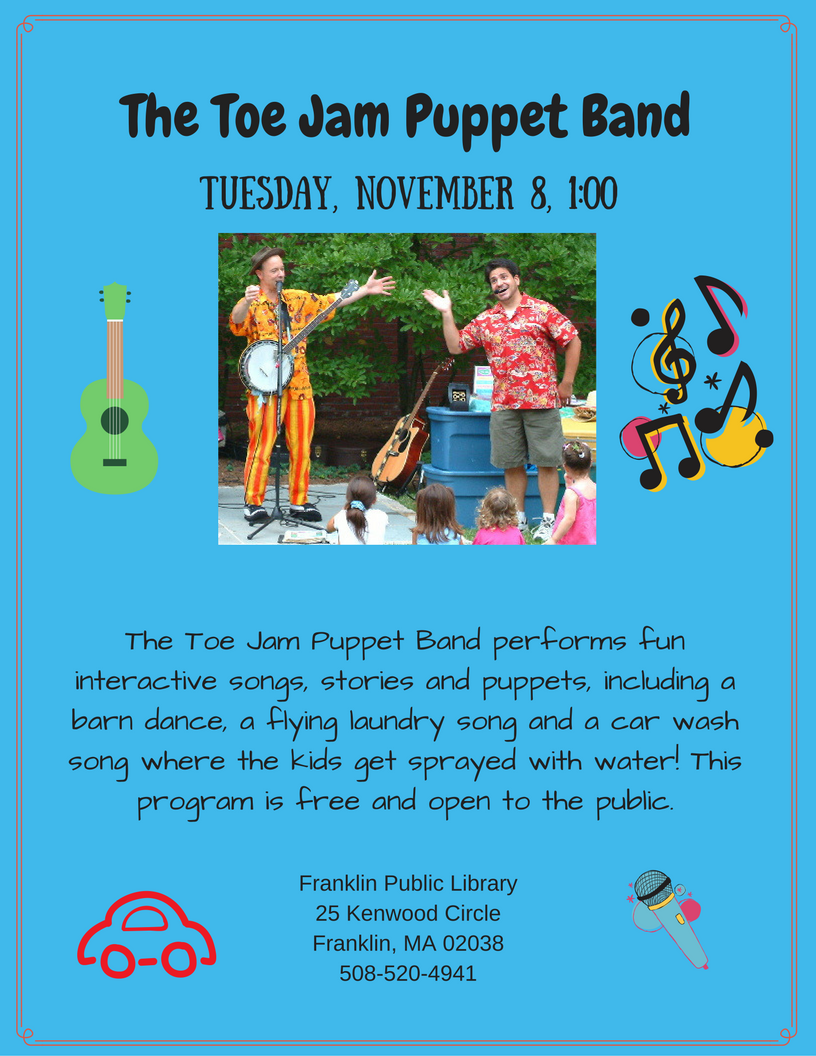 This was shared from the franklin public library page http franklinpl blogspot com 2016 11 the toe jam puppet band tuesday html