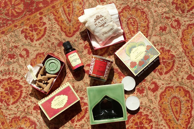 Kama Ayurveda Kannauj Rose Limited Edition Box with Soy Candle, Diffuser Oil, Ceramic Oil Burner, Incense Cones, Perfume Sachets