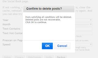 konfirmasi penghapusan status facebook