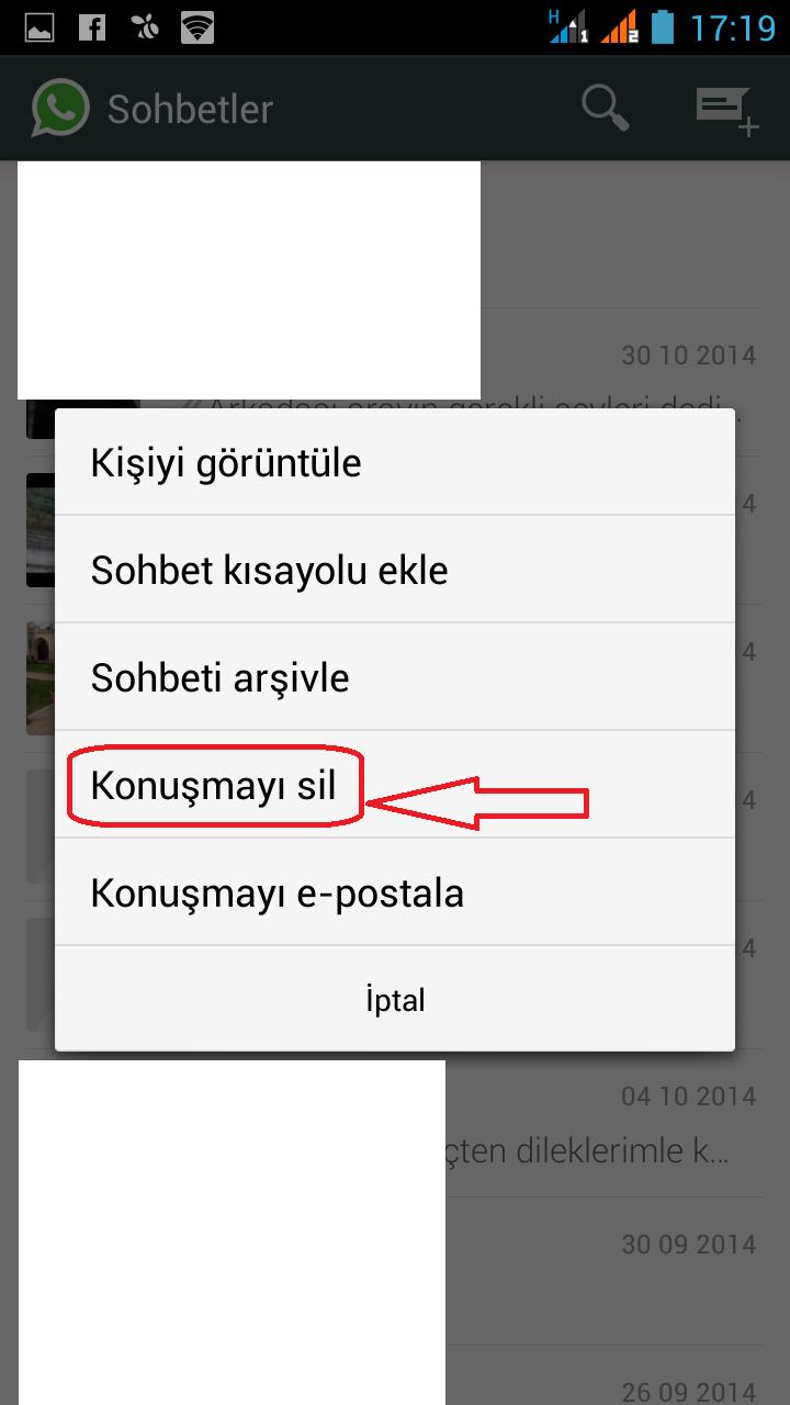 whatsapp sohbet listesi silme