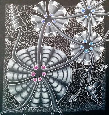 abstract flower, flower drawing, white gel pen, black paper