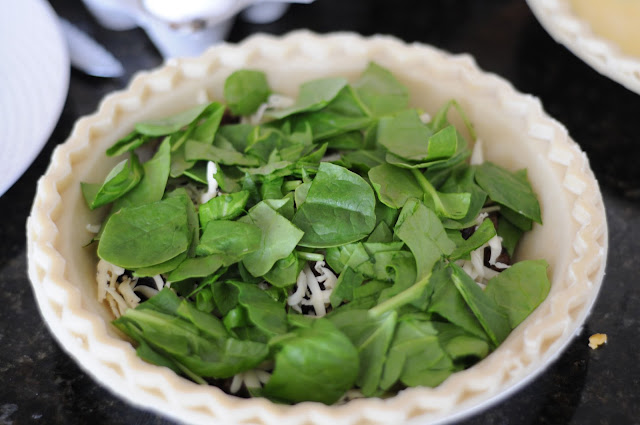 Photo of spinach, sausage, onion and cheese quiche