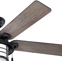 "Hunter 59135 Key Biscayne 54"" Weathered Zinc Ceiling Fan Pine Reversible Blades"