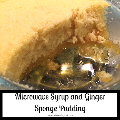 Microwave syrup and ginger sponge pudding in a dish