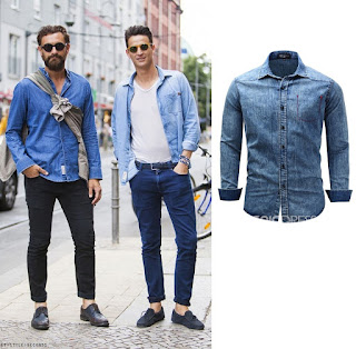 Ericdress Lapel Slim Single-Breasted Men's Denim Shirt