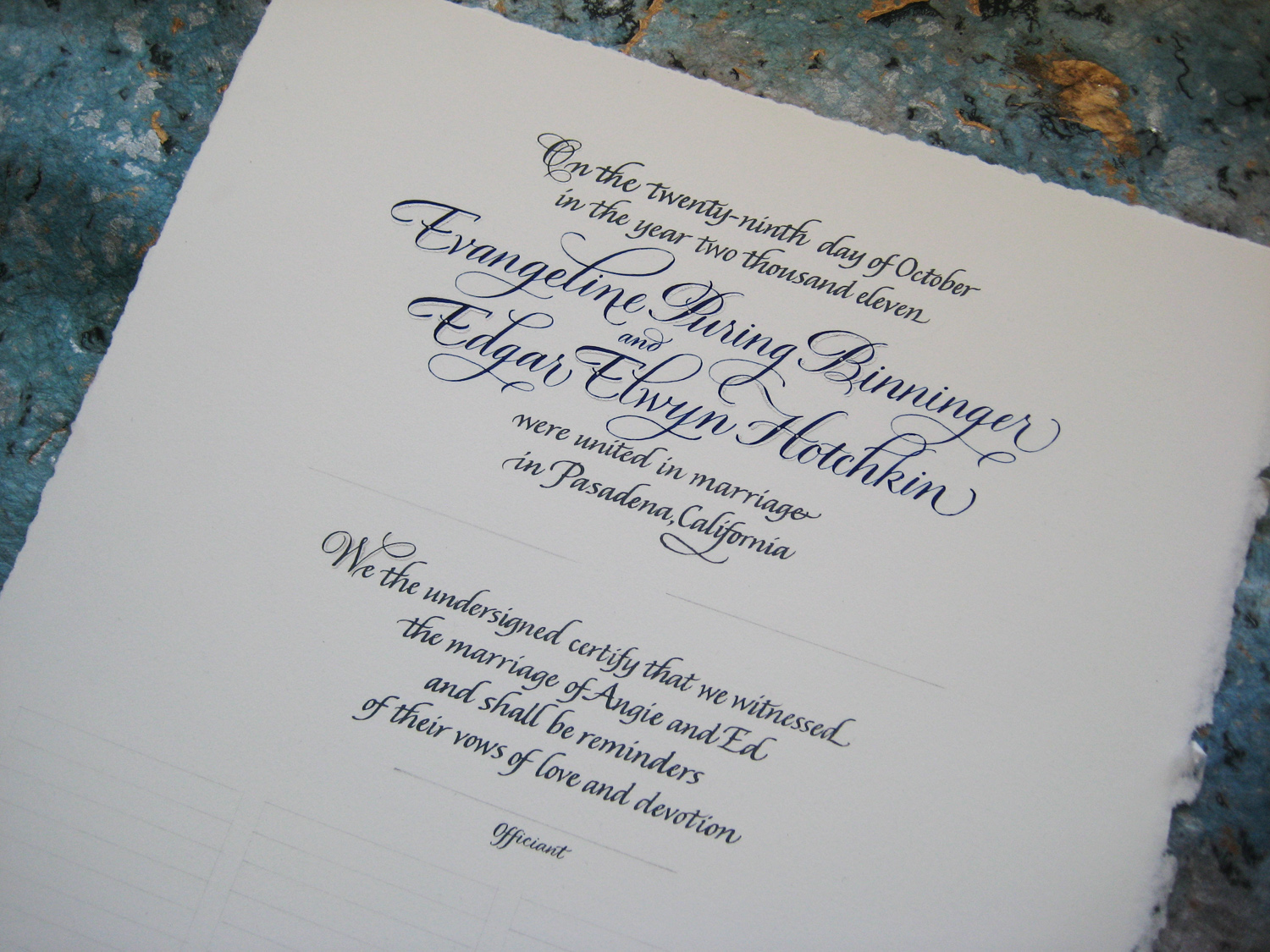 certificate calligraphy