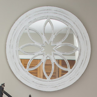 Round White Wooden Mirror