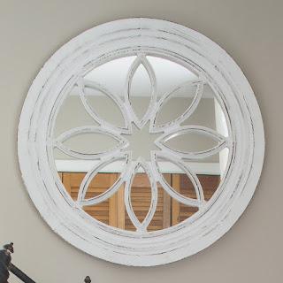 Round White Wooden Mirror