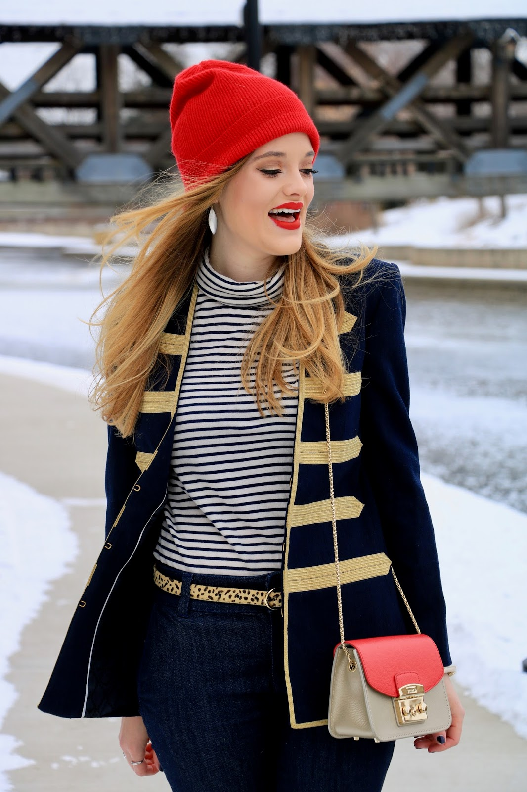 Nyc beauty blogger Kathleen Harper wearing a red lip makeup look