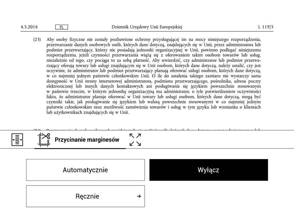 PocketBook Touch HD 3 – PDF przed zastosowaniem przycięcia marginesów