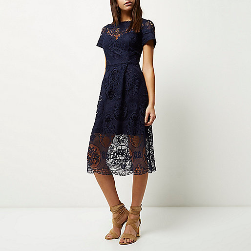river island navy lace dress,