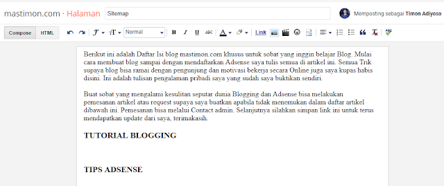 Tutorial Cara Buat Sitemap Blog Simple
