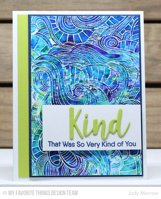 Handmade card from Jody Morrow featuring Kind Words stamp set, Wavy Coloring Book Background stamp, and Kind & Kindness Die-namics #mftstamps