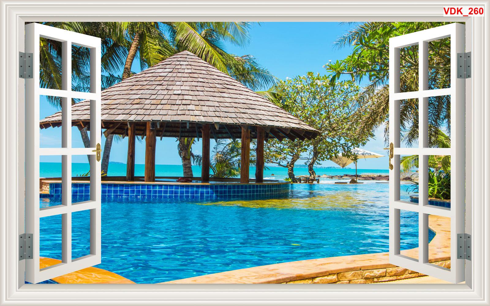 Tranh 3d cửa sổ phong cảnh biển