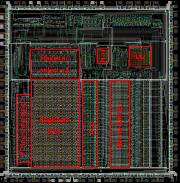 the barrel shifter is especially obvious when you go to the interactive  visual6502 org website and zoom in on that portion of the chip and see the  diagonal
