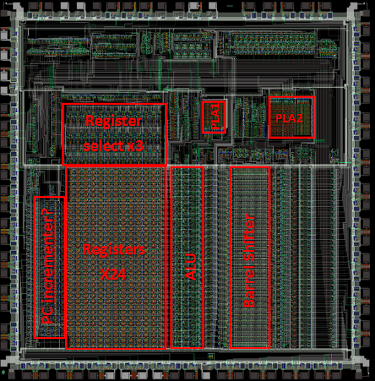 Inside the ALU of the armv1 - the first ARM microprocessor