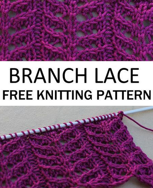 Branch Lace Knitting Stitch - Free Pattern