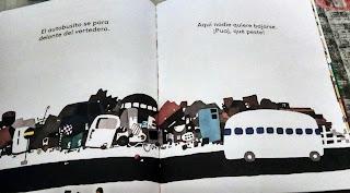 Una página del libro en la que aparece el autobús pasando por el vertedero