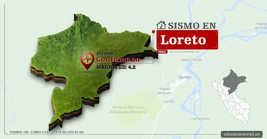 Temblor en Loreto de Magnitud 4.2 (Hoy Lunes 3 Diciembre 2018) Sismo Epicentro Contamana - Ucayali - IGP - www.igp.gob.pe