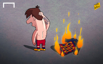 Messi burns his 500 jersey