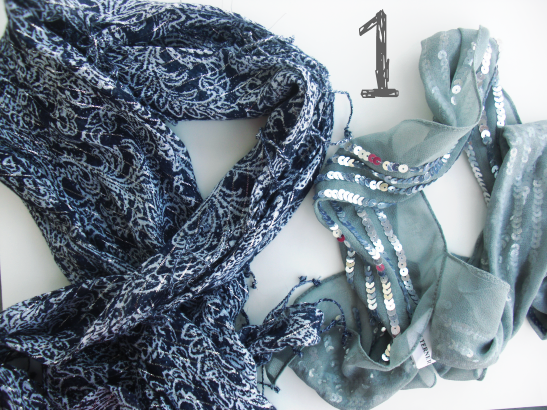 4c1f6a7322284 Take two scarves of your choice (I'm using a printed navy one with fringe  and a sequined gray one). They need to be pretty similar in length for this  to ...