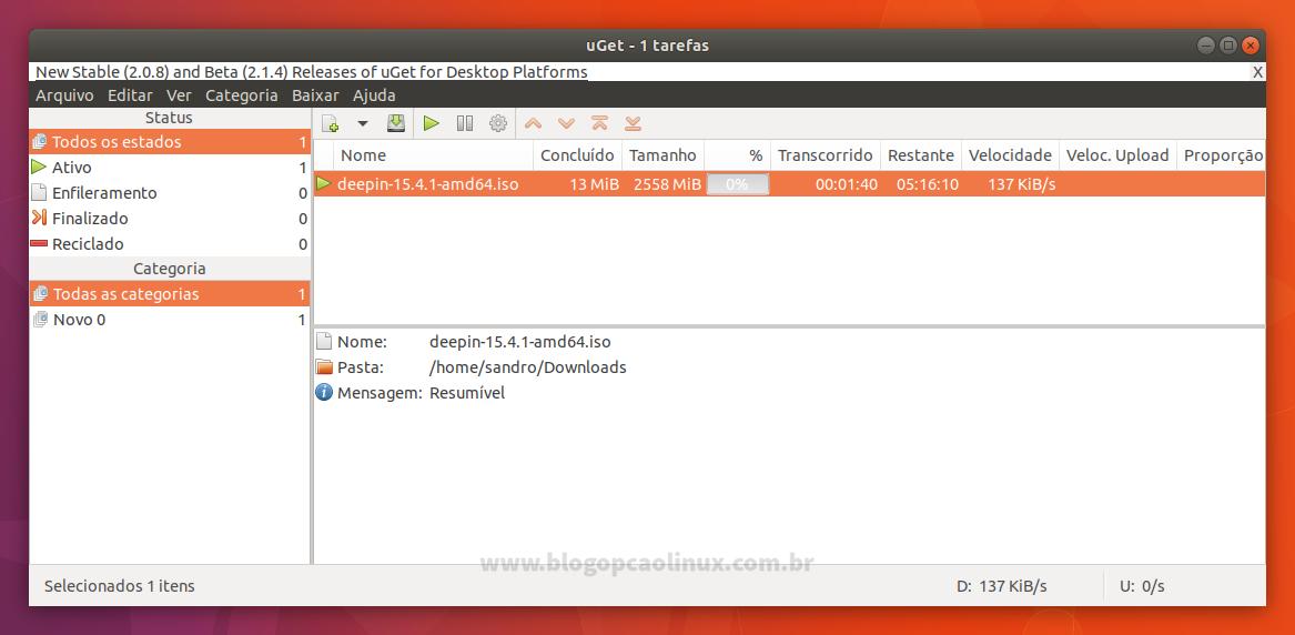 uGet executando no Ubuntu 17.10 (Artful Aardvark)