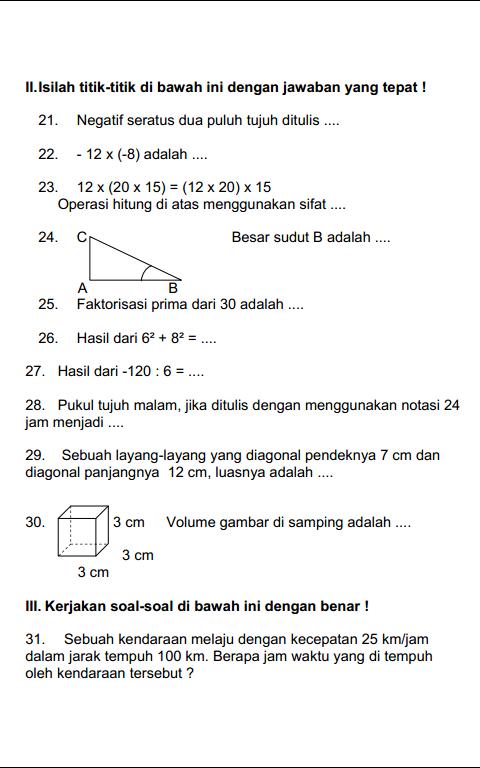 Soal Latihan Dan Kunci Jawaban Ulangan Uas Matematika Kelas 5 Sd Mi Semeter 1 Ganjil Serba