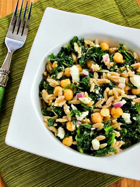 Whole Wheat Orzo Salad with Kale, Chickpeas, Lemon, and Feta found on KalynsKitchen.com