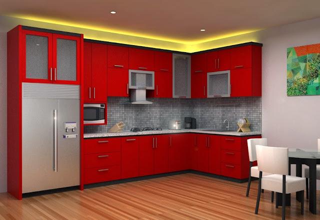 cat tembok dapur warna merah