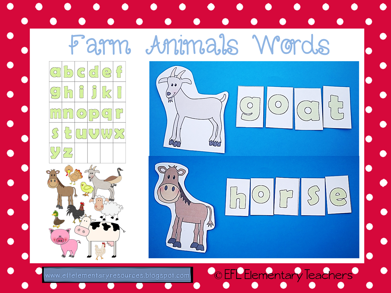 First Farm Words Efl Elementary Teachers Unit Activities For Esl Have The Students Write Animals Using Printable Green Letters And Cutouts Or Dictate Student Group To Finish