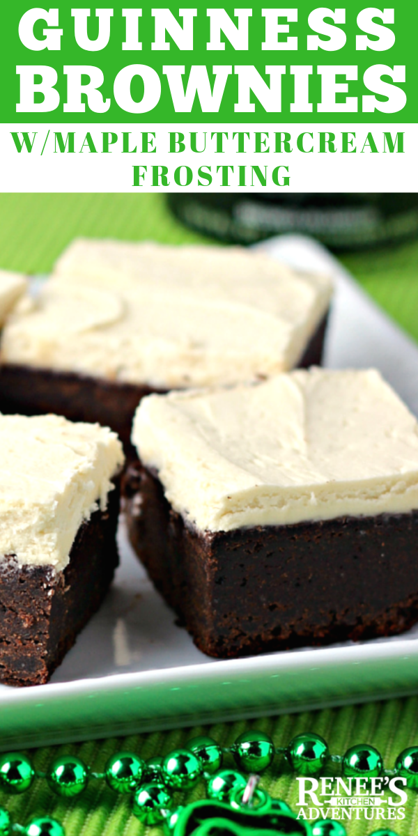 Guinness Brownies with Maple Buttercream Frosting pin for Pinterest