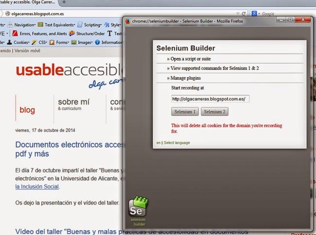 Pantalla de SeBuilder. Indica la URL en la que estás y tiene dos botones con los nombres Selenium1 y Selenium2