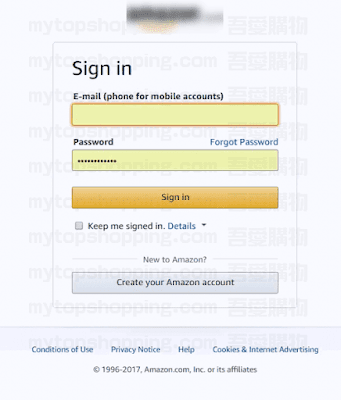Amazon帳號登入