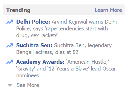 Trending topics on Facebook newsfeed