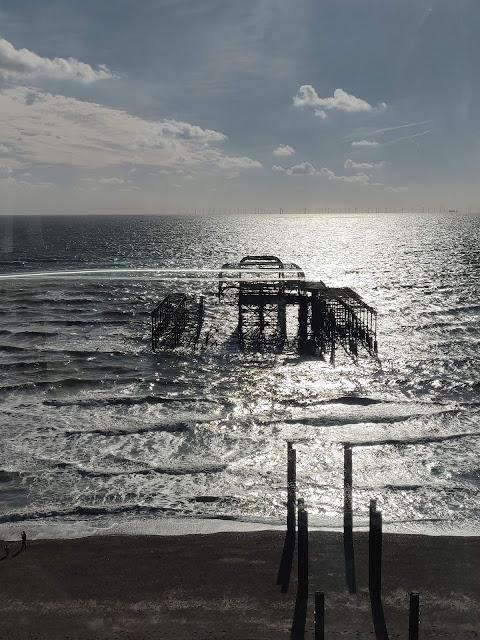 Burnt Brighton Pier as seen from British Airways i360
