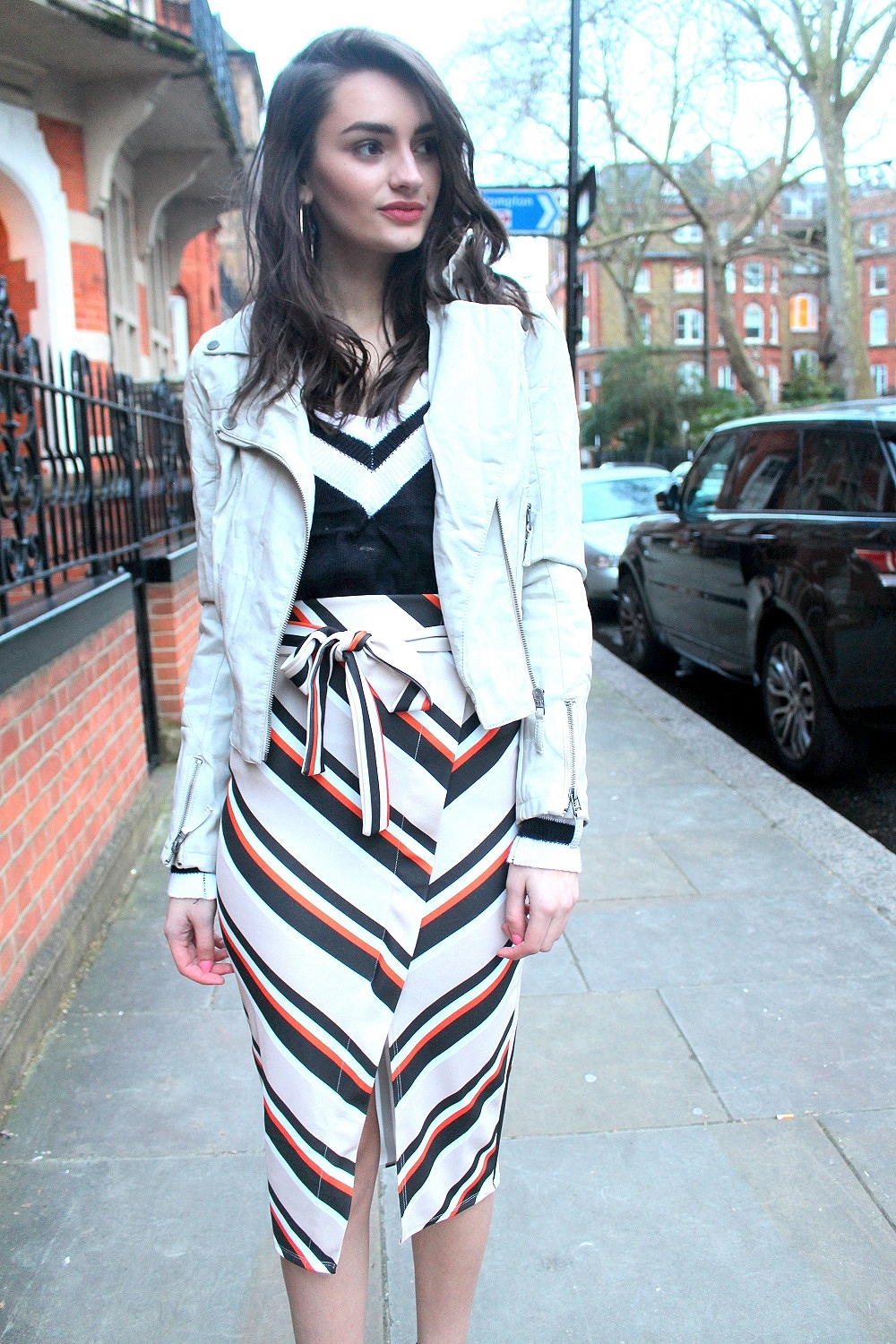 midi skirt striped
