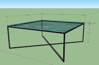Duralis. Metalinis staliukas su stiklu.