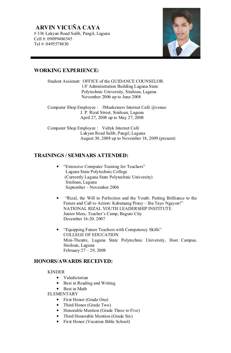 resume for student in college sample of curriculum vitae format