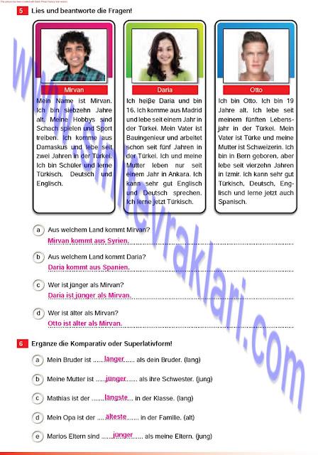 Almanca A1.2 Çıpa Yayınları Çalışma Kitabı Cevapları Sayfa 56
