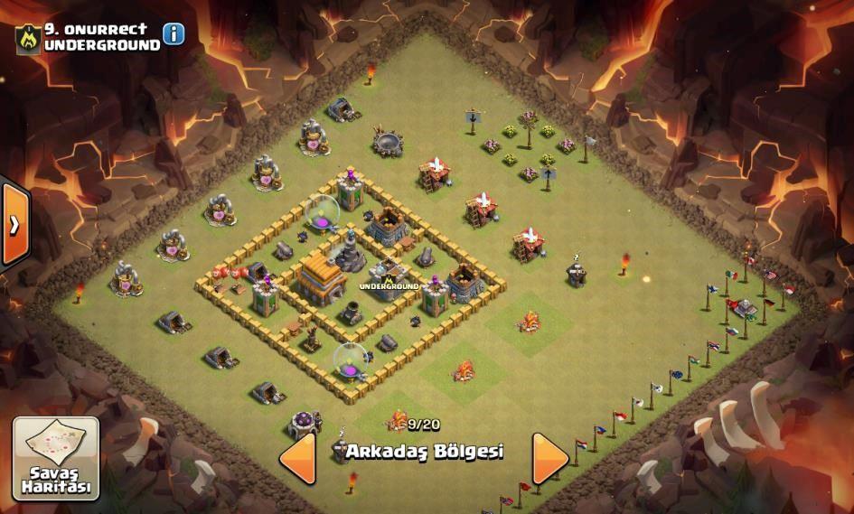 clash of clans 5. seviye köy binas? düzeni