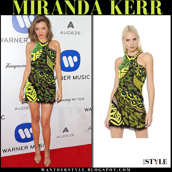 Miranda Kerr in green and yellow mini dress versace red carpet outfit